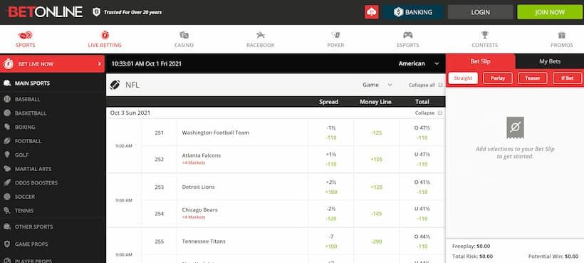 BetOnline Sportsbook Place a Bet