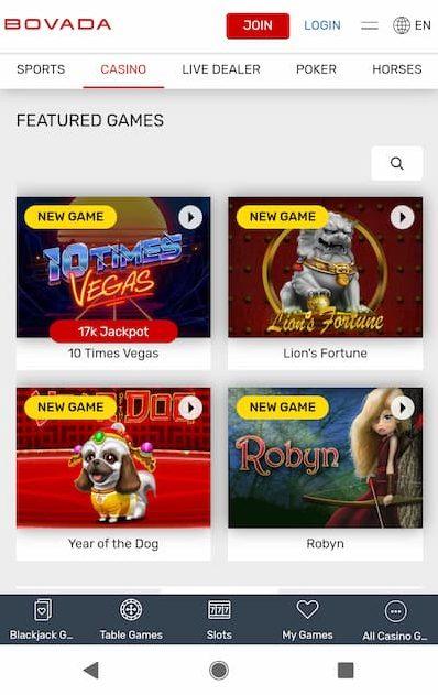 Bovada Casino Mobile App