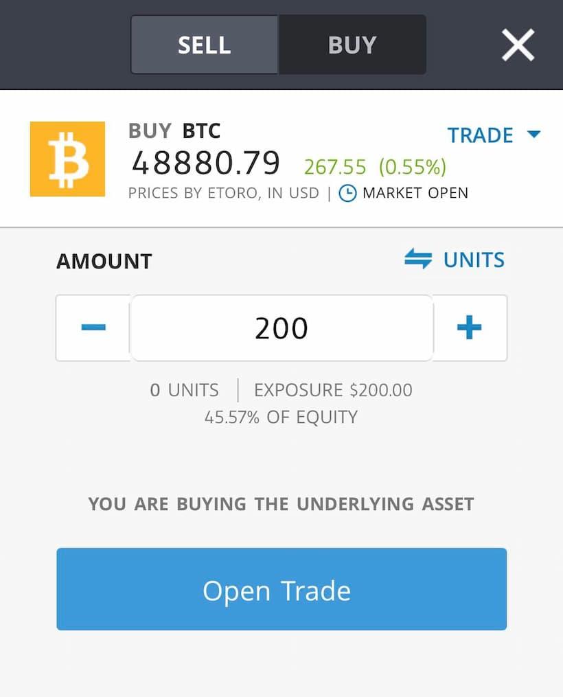 Buy Bitcoin on eToro