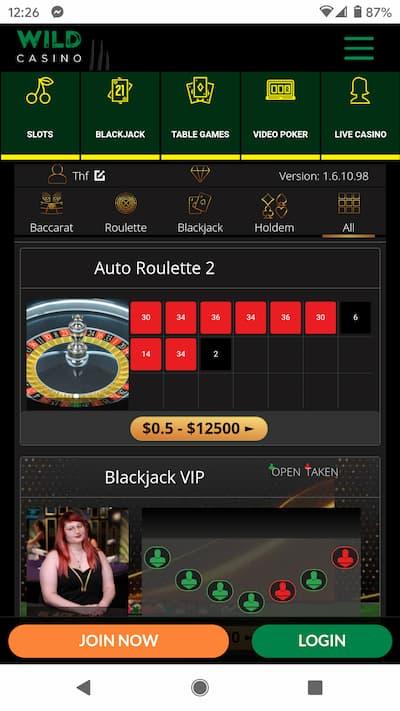 Wild Casino App Live Dealer Games
