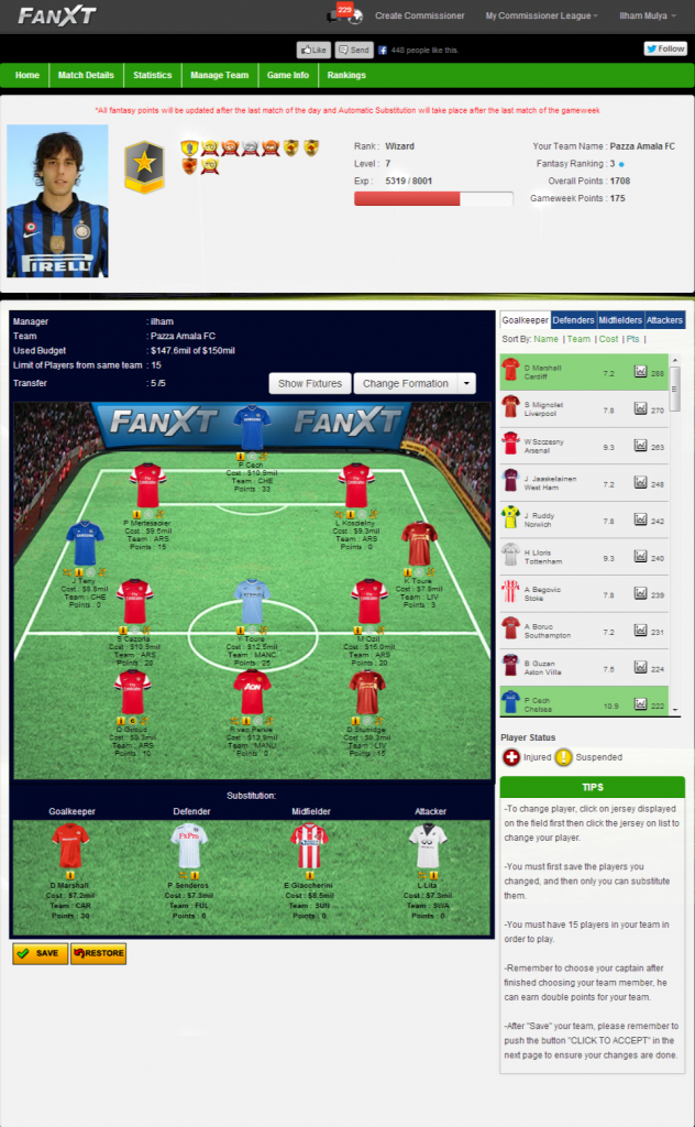Fantasy Premier League Commissioner - Run Your Own Fantasy EPL Game