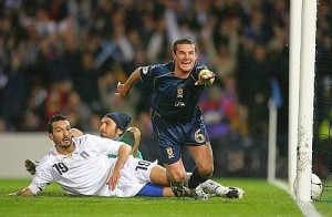 Barry Ferguson has just tied Italy on an offside goal, Scotland's hopes are still alive