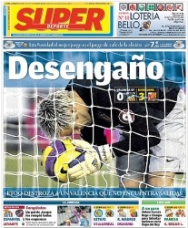 SuperDeporte's title after the 3-0 loss to Barcelona. 'Desengaño' means something along the lines of 'disappointed'
