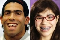 Carlos Tevez (left) with America Ferrera, the actress playing the American version of