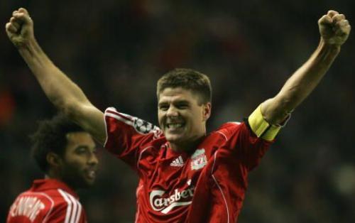 Steven Gerrard celebrates his goal against Inter