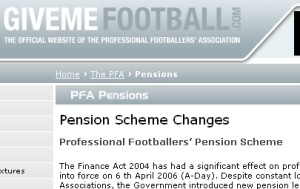 The 'Pensions' page on GiveMeFootball.com
