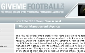 The 'Player Management Agency' page on GiveMeFootball.com