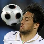 Italian forward Luca Toni heads for the ball during the Euro 2008 Championships Group C football match France vs. Italy on June 17, 2008 at the Letzigrund stadium in Zurich. (AFP/Getty Images)
