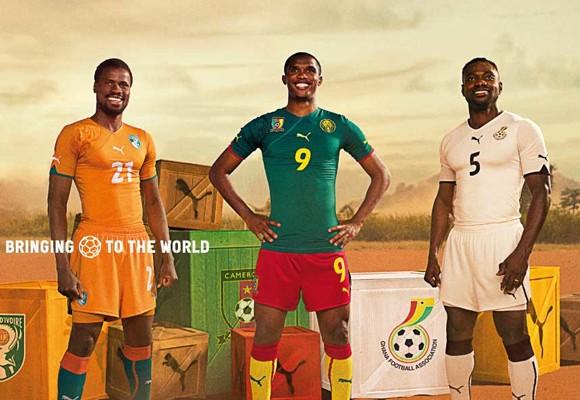 Cameroon, Ivory Coast, and Ghana Football kits World Cup