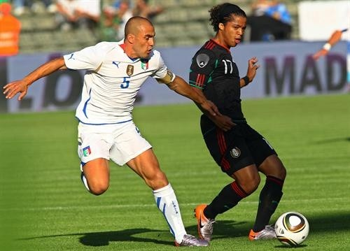 Cannavaro in action against Giovanni Dos Santos of Mexico last week