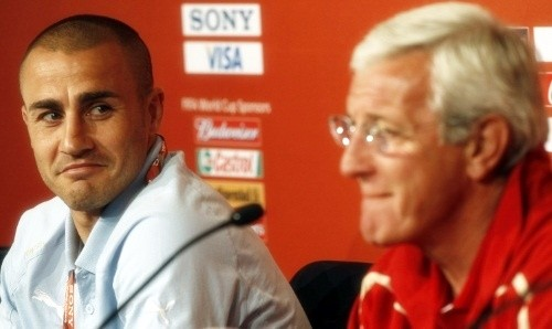 Fabio Cannavaro and Marcello Lippi at the press conference