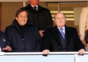 FIFA President Sepp Blatter with UEFA President Michel Platini at Ellis Park