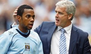 Robinho and Mark Hughes at Man City