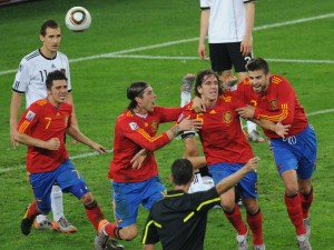 Spain celebrate their solitary goal