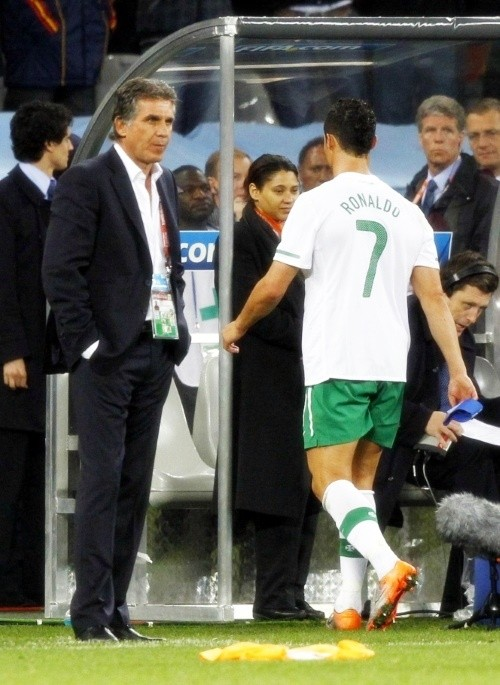 Cristiano Ronaldo after the game with his manager, Carlos Queiroz