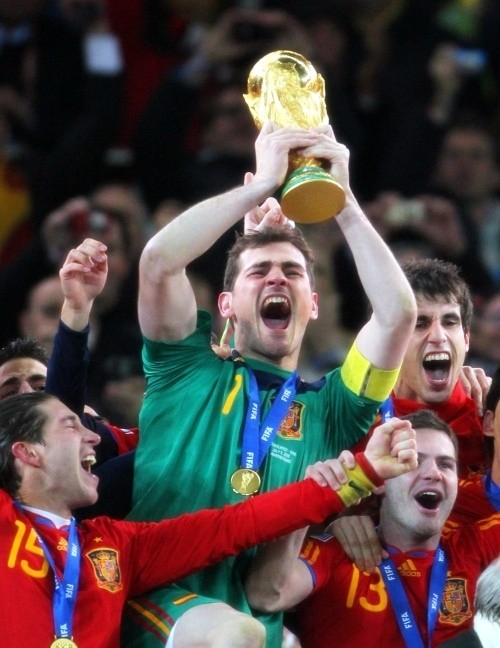 Iker Casillas raises the World Cup trophy for Spain