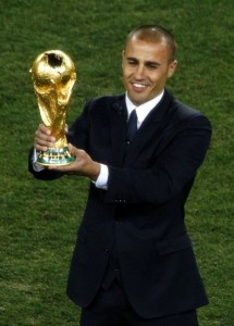 Fabio Cannavaro presented the World Cup trophy before the game
