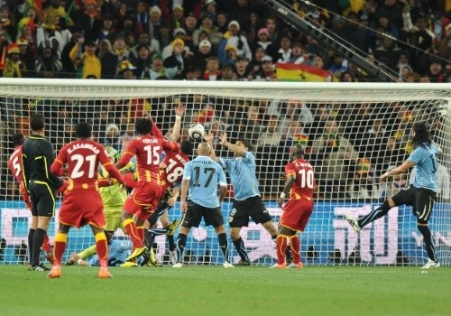 Luis Suarez handled the ball and many players from Ghana thought that it was already over the goal line