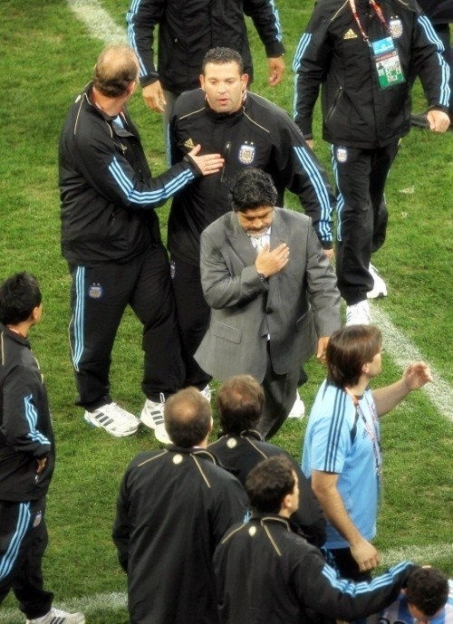 Diego Maradona exits South Africa for the last time