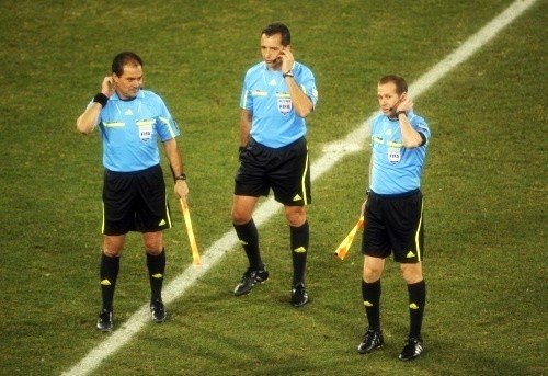 The three match officials: Jorge Larrionda, Mauricio Espinosa and Pablo Fandino