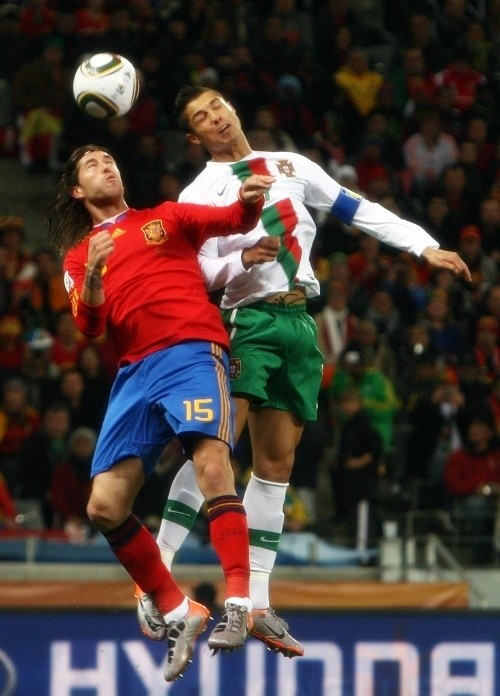 Cristiano Ronaldo in action against his Real Madrid teammate, Sergio Ramos