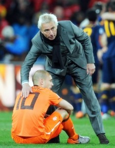 Wesley Sneijder was consoled by his manager, Bert van Marwijk. The Inter Milan man had a tremendous tournament.