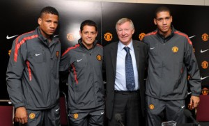 Bebe (left) with United's summer signings