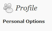 profile personal options