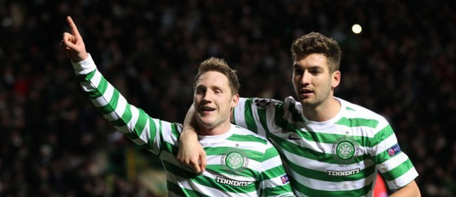 Kris Commons celebrates winning against Benfica