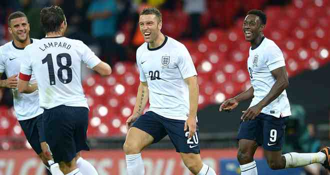 Ricky Lambert scores on his debut for England against Scotland