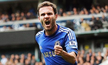 Chelsea's Juan Mata celebrates scoring during his side's 4-2 Premier League win at Tottenham Hotspur