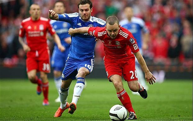 Jay Spearing tussles with Juan Mata last season. (Getty Images)