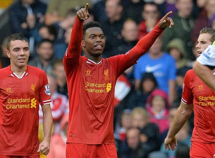 Daniel Sturridge celebrates scoring against rivals Manchester United at Anfield on Sunday