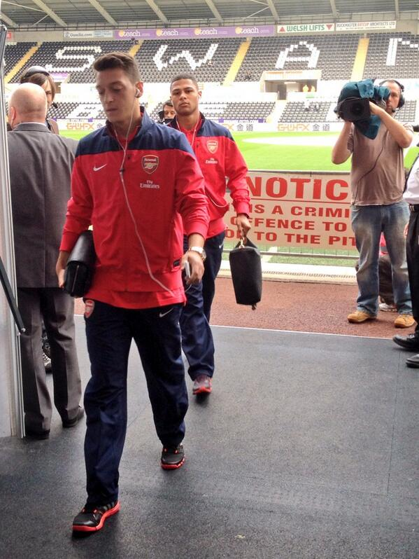 Ozil ahead of the match at the Liberty Stadium