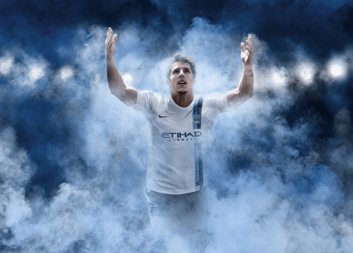 Manchester City's new 3rd kit, worn by Stevan Jovetic.