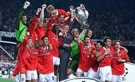 Manchester United Lifting the European Cup in 1999.