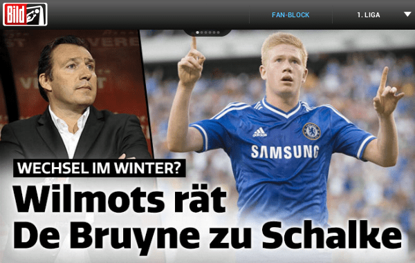 Wilmonts feel De Bruyne should join Schlake, as per Bild