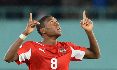 Austria's David Alaba thanks a higher power after scoring against the Republic of Ireland.