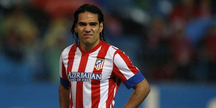 Atletico Madrid's Radamel Falcao is seen during the Spanish first division soccer match against Valencia at Vicente Calderon stadium in Madrid