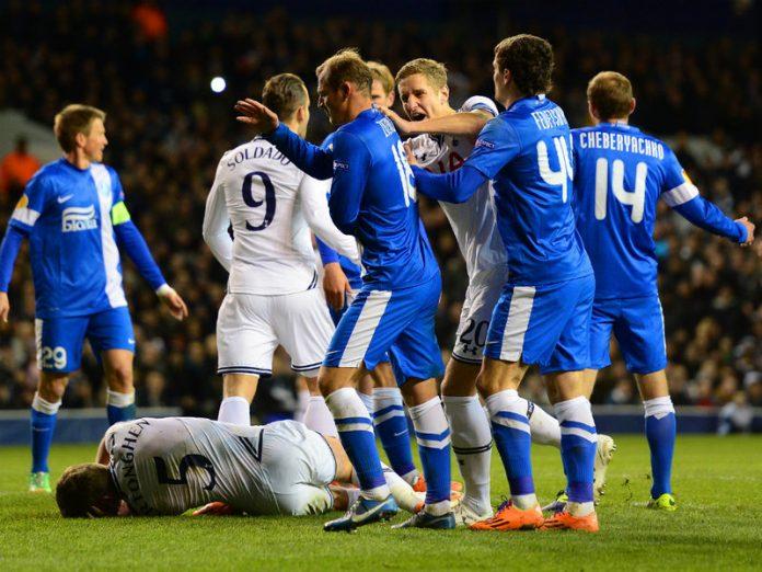 Tottenham's Michael Dawson erupts after the invented headbutt left Jan Vertonghen on the ground.