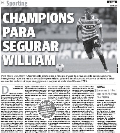 O Jogo reports that Sporting wants the player to stay