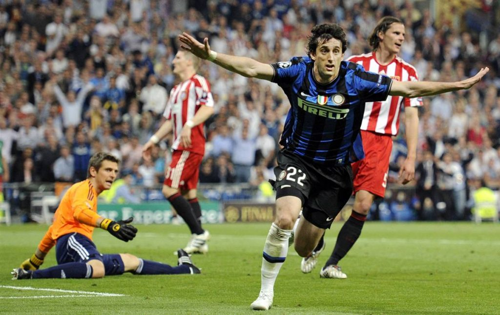 Diego Milito's celebration in the 2010 UCL Final