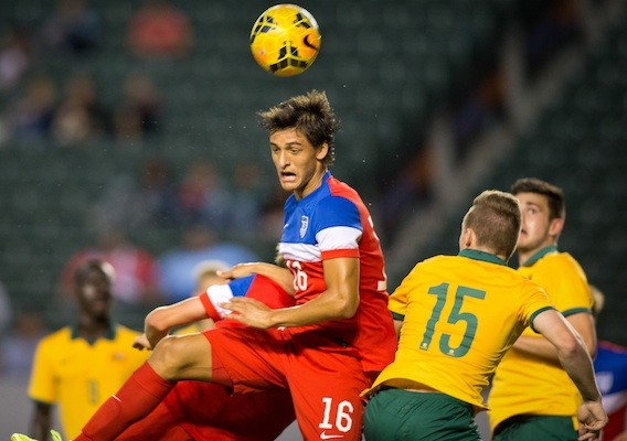 Fernando Arce Jr. playing against Australia for the U.S. Under-20 National team in the NTC Invitational on Friday. Photo provided by American Soccer Now.