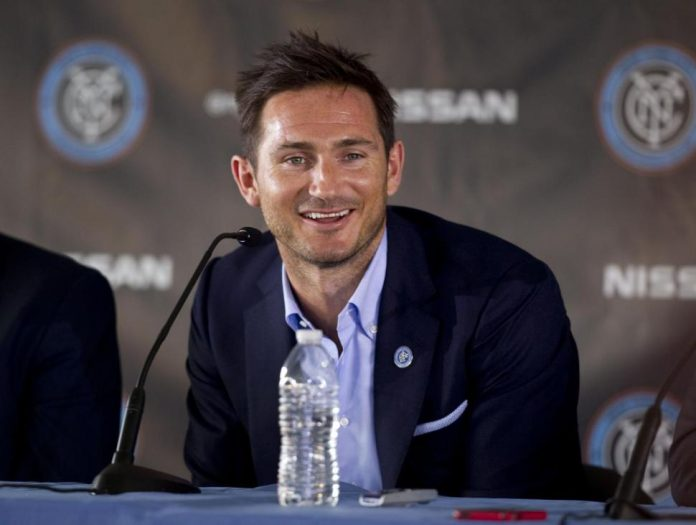 Frank Lampard smiling in the middle of his New York City FC introduction press-conference. Photo provided by Splash News.