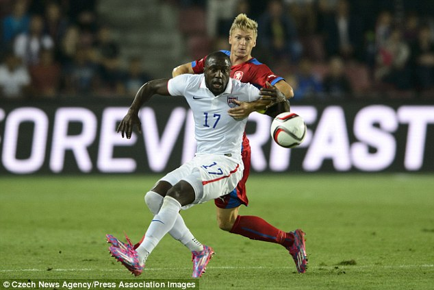 Jozy Altidore became the player that captain the USMNT to their first victory over the Czech Republic on Wednesday at Prague. Photo provided by Czech News Agency.
