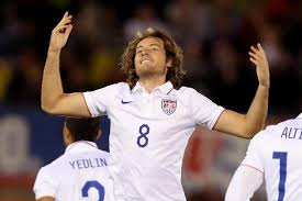 Mix Diskerud celebrates after scoring the goal that gave the Yanks the lead against Ecuador on Friday night, in the 1-1 draw. Photo provided by bleacherreport.com.