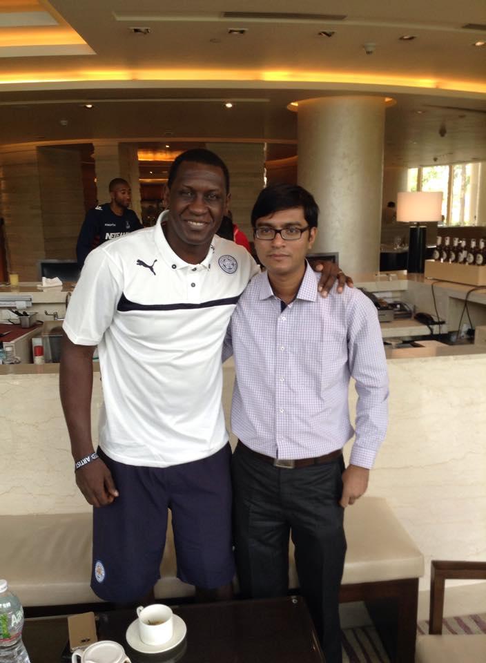 Soccerlens Deputy Editor Saikat Mandal with Emile Heskey