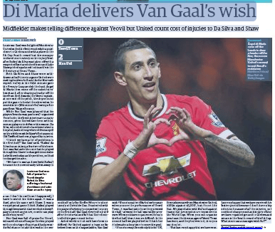 Front sport page of The Guardian