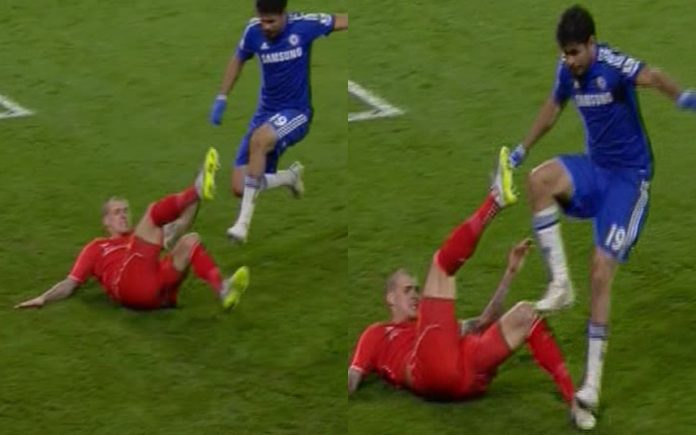 Costa was also accused of stamping on Liverpool defender Martin Skrtel