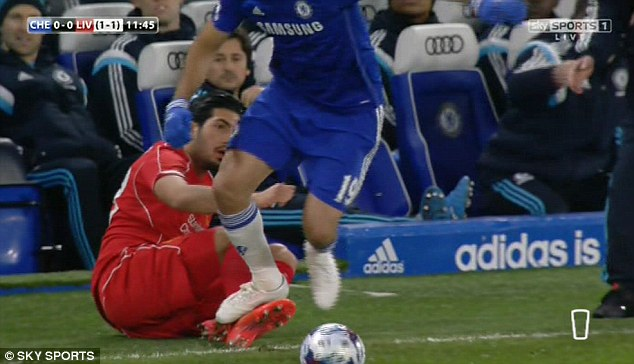 Diego Costa appears to stamp on Liverpool's Emre Can in their Capital One Cup Semi-Final leg at Stamford Bridge